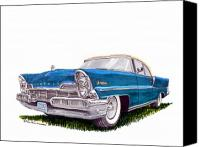 Framed  Of Lincoln Continentals. Framed  Of Art Of Famous Lincoln Cars. Framed  Of Lincoln Car Art. Framed  Of Great American Classic Cars Canvas Prints - 1957 Lincoln Premiere Convert Canvas Print by Jack Pumphrey