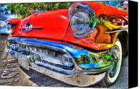 Bumpers Canvas Prints - 1957 Oldsmobile Convertible Canvas Print by David  Naman