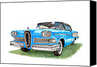 Blue Ford Canvas Prints - 1958 Edsel 2 door Hard Top Canvas Print by Jack Pumphrey