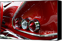 Red Car Canvas Prints - 1958 Impala tail lights Canvas Print by Paul Ward