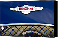 Roadster Canvas Prints - 1959 Aston Martin Jaguar C-Type Roadster Hood Emblem Canvas Print by Jill Reger
