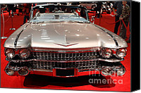 Transportation Tapestries Textiles Canvas Prints - 1959 Cadillac Convertible . Front View Canvas Print by Wingsdomain Art and Photography