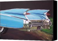 American Car Pastels Canvas Prints - 1959 Cadillac Canvas Print by Sharon Quarles