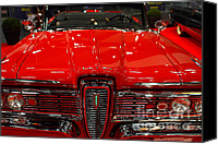 Convertibles Canvas Prints - 1959 Edsel Corsair Convertible . Red . 7D9235 Canvas Print by Wingsdomain Art and Photography