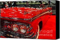 American Car Photography Canvas Prints - 1959 Edsel Corsair Convertible . Red . 7D9241 Canvas Print by Wingsdomain Art and Photography