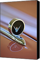 Thunderbird Canvas Prints - 1959 Ford Thunderbird Convertible Hood Ornament Canvas Print by Jill Reger