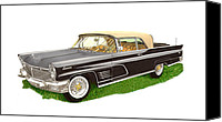 1960 Painting Canvas Prints - 1960 Continental Convertible Canvas Print by Jack Pumphrey