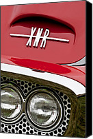 Roadster Canvas Prints - 1960 Plymouth XNR Ghia Roadster Grille Emblem Canvas Print by Jill Reger