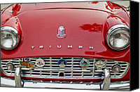 Grill Canvas Prints - 1960 Triumph TR 3 Grille Emblems Canvas Print by Jill Reger