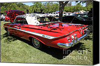 American Car Canvas Prints - 1961 Chevrolet Impala SS Convertible . 5D16265 Canvas Print by Wingsdomain Art and Photography