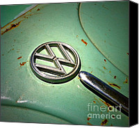 Wing Mirror Canvas Prints - 1961 Green VW Canvas Print by Gwyn Newcombe