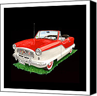 1960 Painting Canvas Prints - 1961 Metropolitian convertible 1961 Canvas Print by Jack Pumphrey