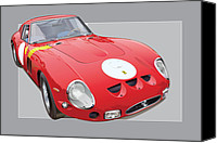 Ferrari Gto Canvas Prints - 1962 ferrari 250 GTO Canvas Print by Alain Jamar