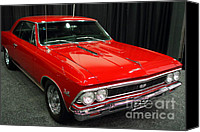Sportscars Photo Canvas Prints - 1966 Chevy Chevelle SS 396 . Red . 7D9278 Canvas Print by Wingsdomain Art and Photography