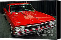 American Car Photography Canvas Prints - 1966 Chevy Chevelle SS 396 . Red . 7D9280 Canvas Print by Wingsdomain Art and Photography
