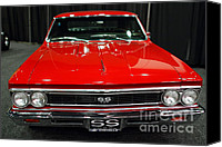 American Car Photography Canvas Prints - 1966 Chevy Chevelle SS 396 . Red . 7D9282 Canvas Print by Wingsdomain Art and Photography