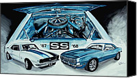 Sports Art Painting Canvas Prints - 1967 1968 Chevy Camaro SS ART Original Painting Canvas Print by J Vincent Scarpace