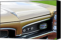 Gto Canvas Prints - 1967 Pontiac GTO Grille Emblem 2 Canvas Print by Jill Reger