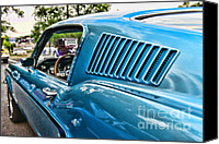 Blue Ford Canvas Prints - 1968 Ford Mustang Fastback in Blue Canvas Print by Paul Ward