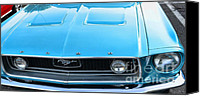 Blue Ford Canvas Prints - 1968 Mustang Fastback Hood Canvas Print by Paul Ward