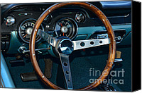 High Wheel Canvas Prints - 1968 Mustang Fastback Steering Wheel Canvas Print by Paul Ward