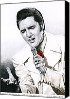 Elvis Canvas Prints - 1968 White If I Can Dream Suit Canvas Print by Rob De Vries