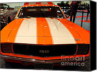 American Car Photography Canvas Prints - 1969 Chevrolet Camaro 350 RS . Orange With Racing Stripes . 7D9428 Canvas Print by Wingsdomain Art and Photography