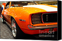 American Car Photography Canvas Prints - 1969 Chevrolet Camaro 350 RS . Orange With Racing Stripes . 7D9432 Canvas Print by Wingsdomain Art and Photography