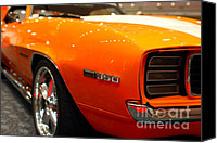 American Car Photography Canvas Prints - 1969 Chevrolet Camaro 350 RS . Orange With Racing Stripes . 7D9434 Canvas Print by Wingsdomain Art and Photography