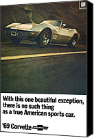 Speeding Chevrolet Canvas Prints - 1969 Chevrolet Corvette Canvas Print by Digital Repro Depot