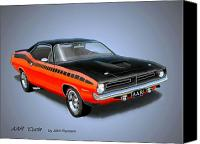 Chrysler Canvas Prints - 1970 CUDA AAR  classic Barracuda vintage Plymouth muscle car art sketch rendering         Canvas Print by John Samsen