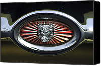 1970 Canvas Prints - 1970 Jaguar XK Type-E Grille Emblem Canvas Print by Jill Reger