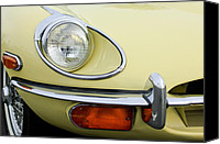 1970 Canvas Prints - 1970 Jaguar XK Type-E Headlight Canvas Print by Jill Reger