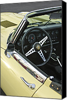 1970 Canvas Prints - 1970 Jaguar XK Type-E Steering Wheel Canvas Print by Jill Reger