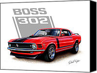 Ford Digital Art Canvas Prints - 1970 Mustang Boss 302 Red Canvas Print by David Kyte