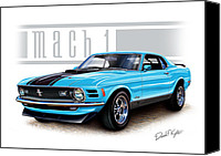 Ford Digital Art Canvas Prints - 1970 Mustang Mach 1 Blue Canvas Print by David Kyte