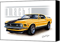 Ford Digital Art Canvas Prints - 1970 Mustang Mach 1 in Yellow Canvas Print by David Kyte