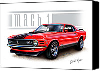 Ford Digital Art Canvas Prints - 1970 Mustang Mach 1 Red Canvas Print by David Kyte