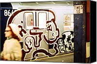 Subway Station Photo Canvas Prints - 1970s America. Graffiti On A Subway Car Canvas Print by Everett