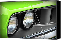 Fender Digital Art Canvas Prints - 1971 Plymouth Barracuda Cuda Sublime Green Canvas Print by Gordon Dean II
