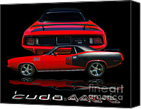 Reflections Canvas Prints - 1971 Plymouth Cuda 440 Six Pack    Canvas Print by Peter Piatt