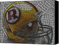 Redskins Canvas Prints - 1971 Redskins Helmet Words Mosaic Canvas Print by Paul Van Scott