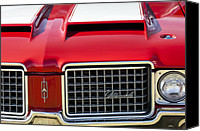 Oldsmobile Canvas Prints - 1972 Oldsmobile Grille Canvas Print by Jill Reger