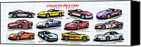 Special Edition Canvas Prints - 1978 - 2008 Indy 500 Pace Car Corvettes Canvas Print by K Scott Teeters