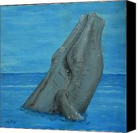 Whale Painting Canvas Prints - 1979 Humpback Whale Canvas Print by Monte Lee Thornton