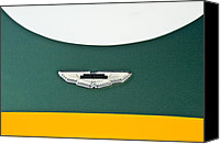 2011 Canvas Prints - 1993 Aston Martin DBR2 Recreation Hood Emblem Canvas Print by Jill Reger