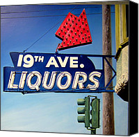Photo-realism Canvas Prints - 19th Ave Liquors Canvas Print by Jim Gleeson