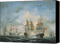 Engagement Painting Canvas Prints - 19th Century Naval Engagement in Home Waters Canvas Print by Richard Willis