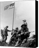 Battles Canvas Prints - 1st Flag Raising On Iwo Jima  Canvas Print by War Is Hell Store