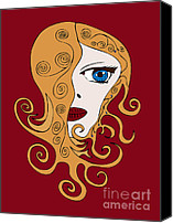 Swirls Drawings Canvas Prints - A Woman Canvas Print by Frank Tschakert